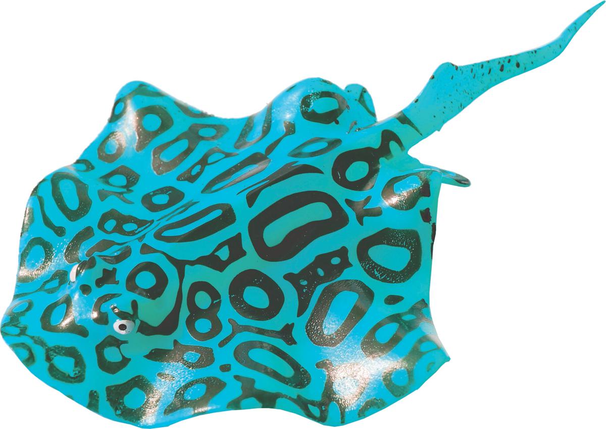 Декорация для аквариума Jelly-Fish Рыба Скат, силиконовая, с неоновым эффектом, цвет: голубой, 20 х 13 см декорация для аквариума jelly fish актиния с рыбой дори с эффектом пузырьков цвет радужный 11 х 8 х 14 5 см