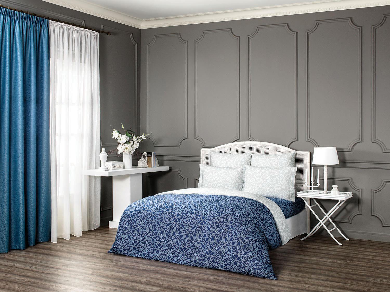 Комплект белья Estia Арден, 2-спальный, наволочки 50х70, 70х70, цвет: синий комплект белья tiffany s secret шоколадный этюд 2 спальный кпб сатин наволочки 50х70 70х70