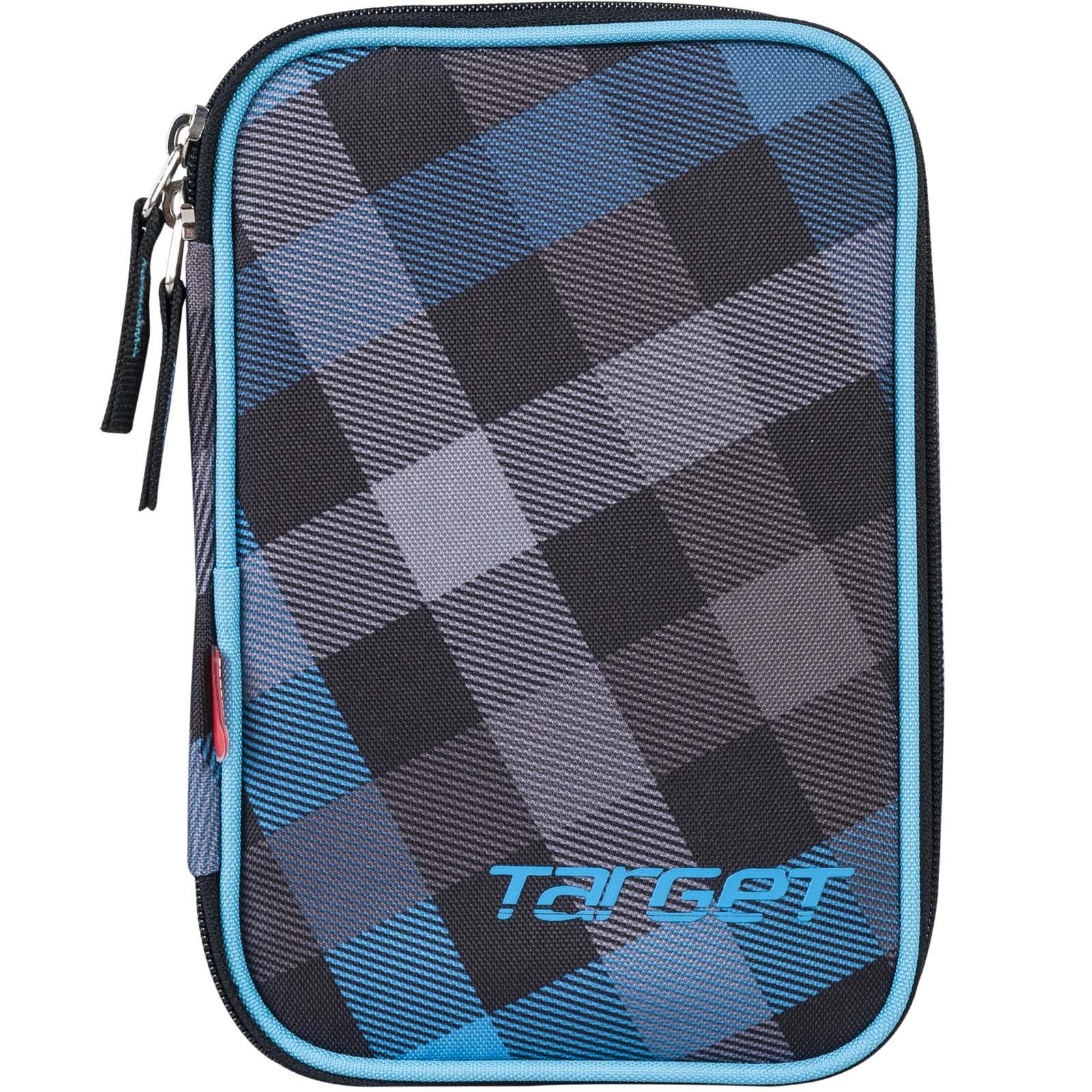 Пенал Target, с наполнением, цвет: синий, черный