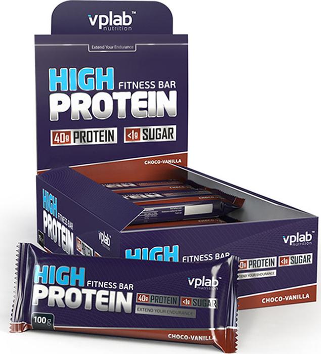Батончик протеиновый Vplab High Protein Fitness Bar, шоколад-ваниль, 100 г протеиновый батончик vp laboratory low carb protein bar темный шоколад кокос 35 г