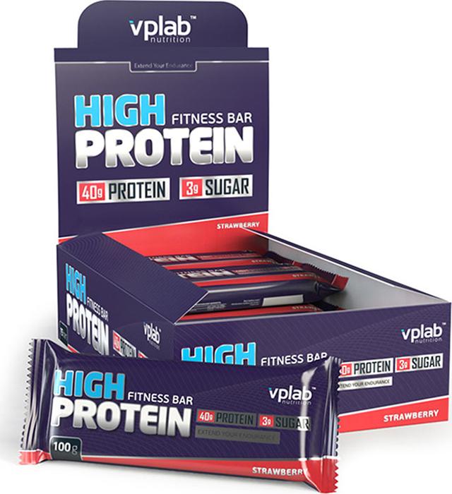 Батончик протеиновый Vplab High Protein Fitness Bar, клубника, 100 г цена