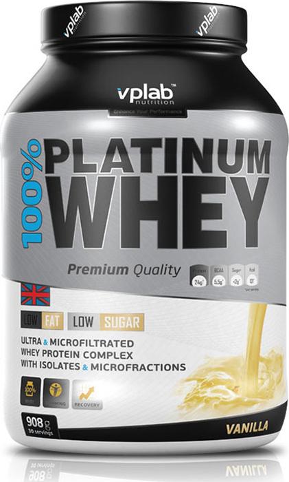 Протеин Vplab 100% Platinum Whey, ваниль, 908 г протеин сывороточный vplab platinum whey лимонный чизкейк 2 3 кг