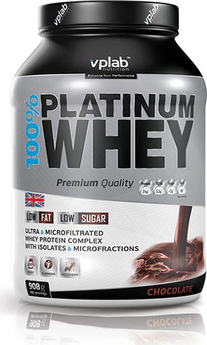 Протеин Vplab 100% Platinum Whey, шоколад, 908 г протеин сывороточный vplab platinum whey лимонный чизкейк 2 3 кг