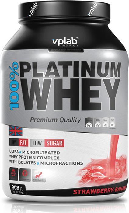 Протеин Vplab 100% Platinum Whey, клубника-банан, 908 г multi whey