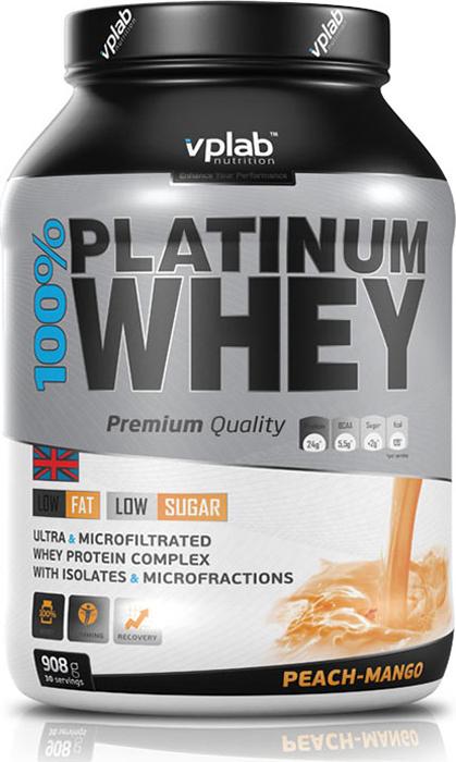 Протеин Vplab 100% Platinum Whey, персик-манго, 908 г multi whey
