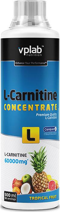 Карнитин Vplab L-Carnitine Concentrate, концентрат, тропические фрукты, 500 мл l карнитин sport technology nutrition l carnitine guarana 0 5 л