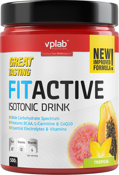 Изотоник Vplab FitActive, тропические фрукты, 500 г цена