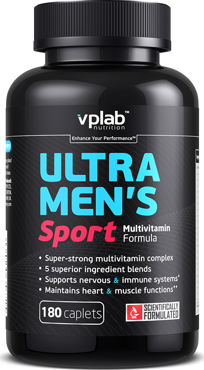 Витаминно-минеральный комплекс VP Laboratory Ультра Менс Спорт Мультивитамин Формула, 180 капсул