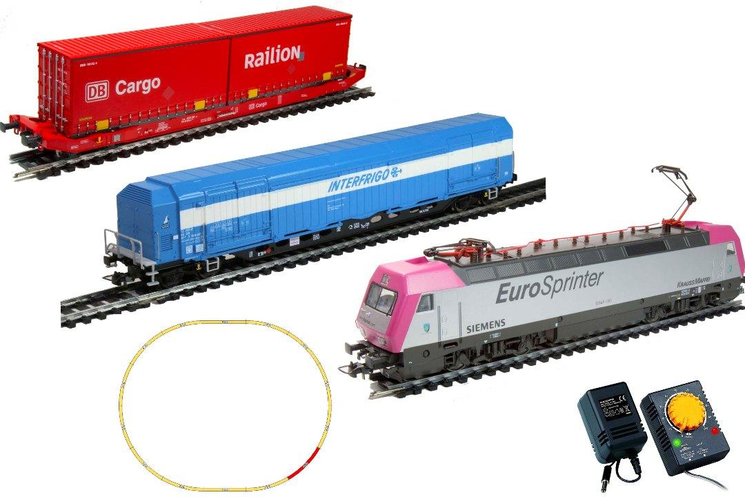 Железная дорога Mehano Prestige Eurosprinter Magenta электровоз с вагонами T214 и T216 mehano мост c опорами для железной дороги
