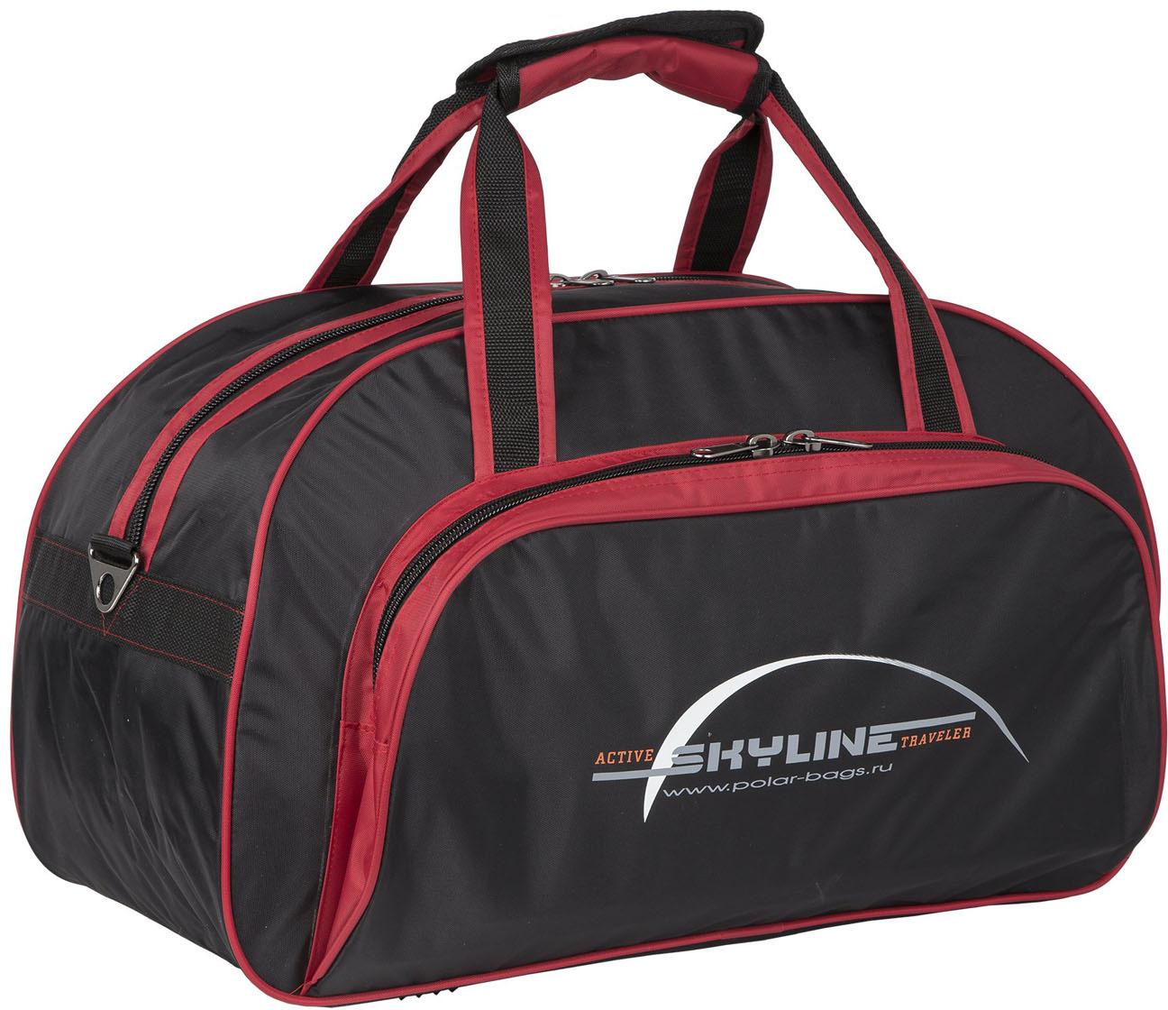 сумки переноски Сумка спортивная Polar Скайлайн, цвет: черный, красный, 57 л