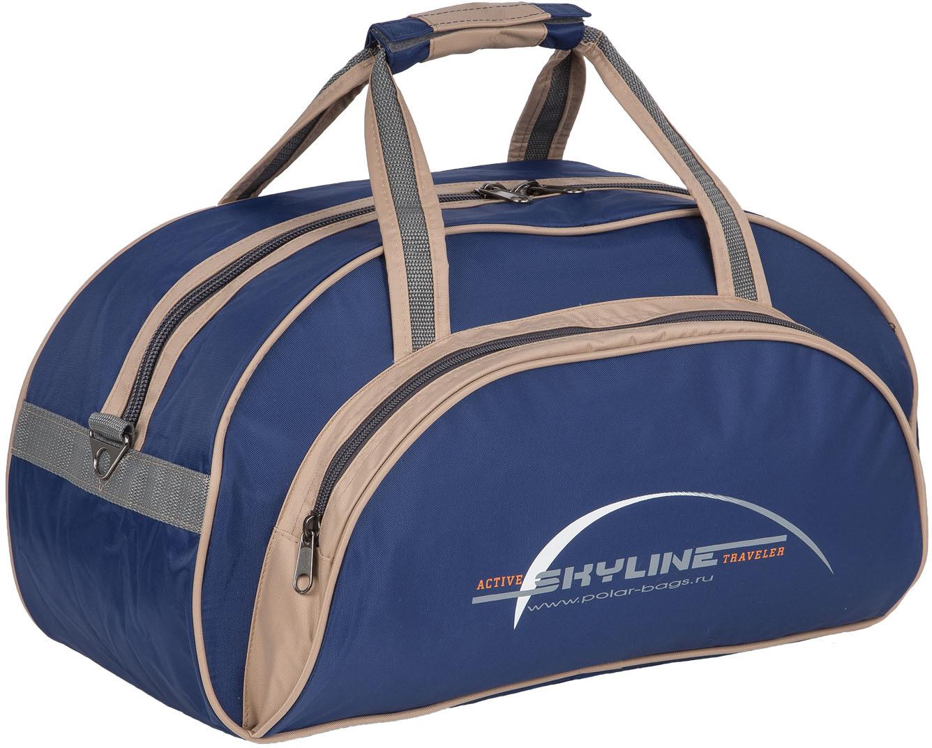 сумки переноски Сумка спортивная Polar Скайлайн, цвет: синий, бежевый, серый, 25 л