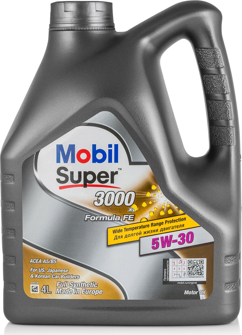 Масло моторное Mobil Super 3000 X1 Formula FE, синтетическое, класс вязкости 5W-30, 4 л