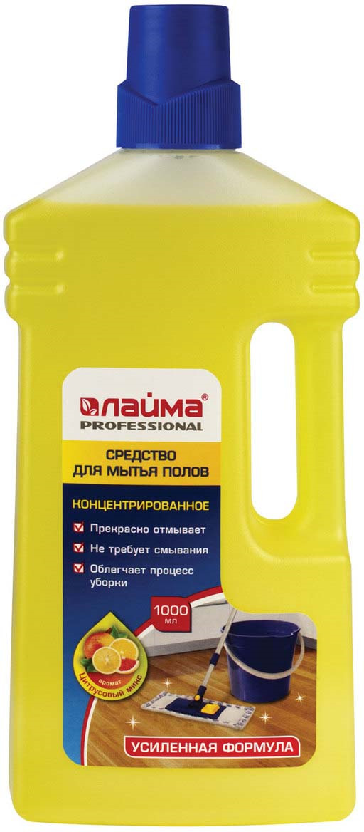 Средство для мытья пола Лайма Professional Цитрусовый микс, концентрат, 1 л средство для мытья пола лайма professional лимон концентрат 1 л