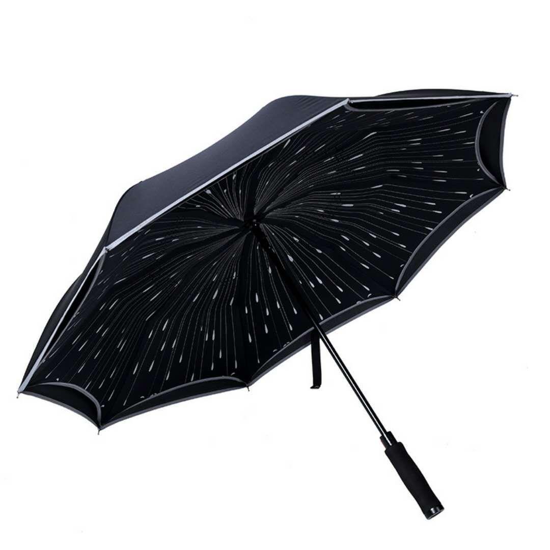 Зонт-трость женский Mgitik, реверсивный полуавтомат, UMV23, черный, синий зонт зонт наоборот bordo
