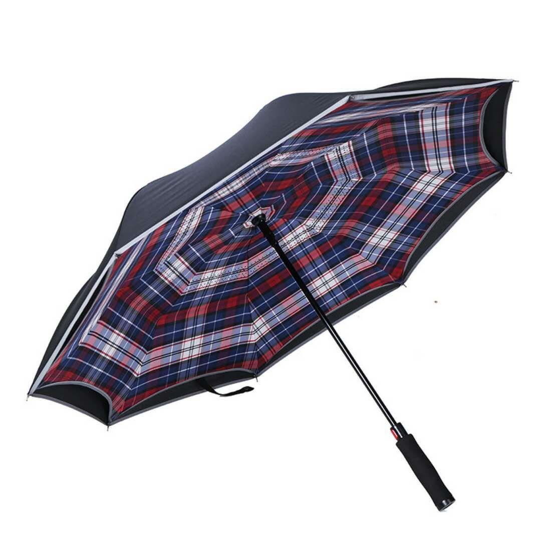 Зонт-трость женский MGitik, реверсивный полуавтомат, UMV24, черный, белый, синий, красный зонт зонт наоборот bordo