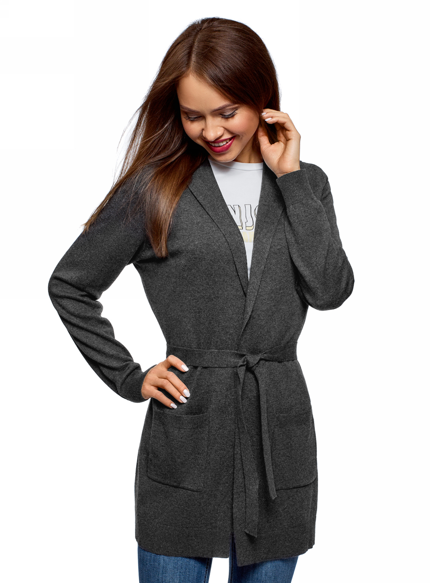 Кардиган женский oodji, цвет: темно-серый меланж. 63212601/43755/2500M. Размер M (46)63212601/43755/2500MКардиган с поясом и накладными карманами