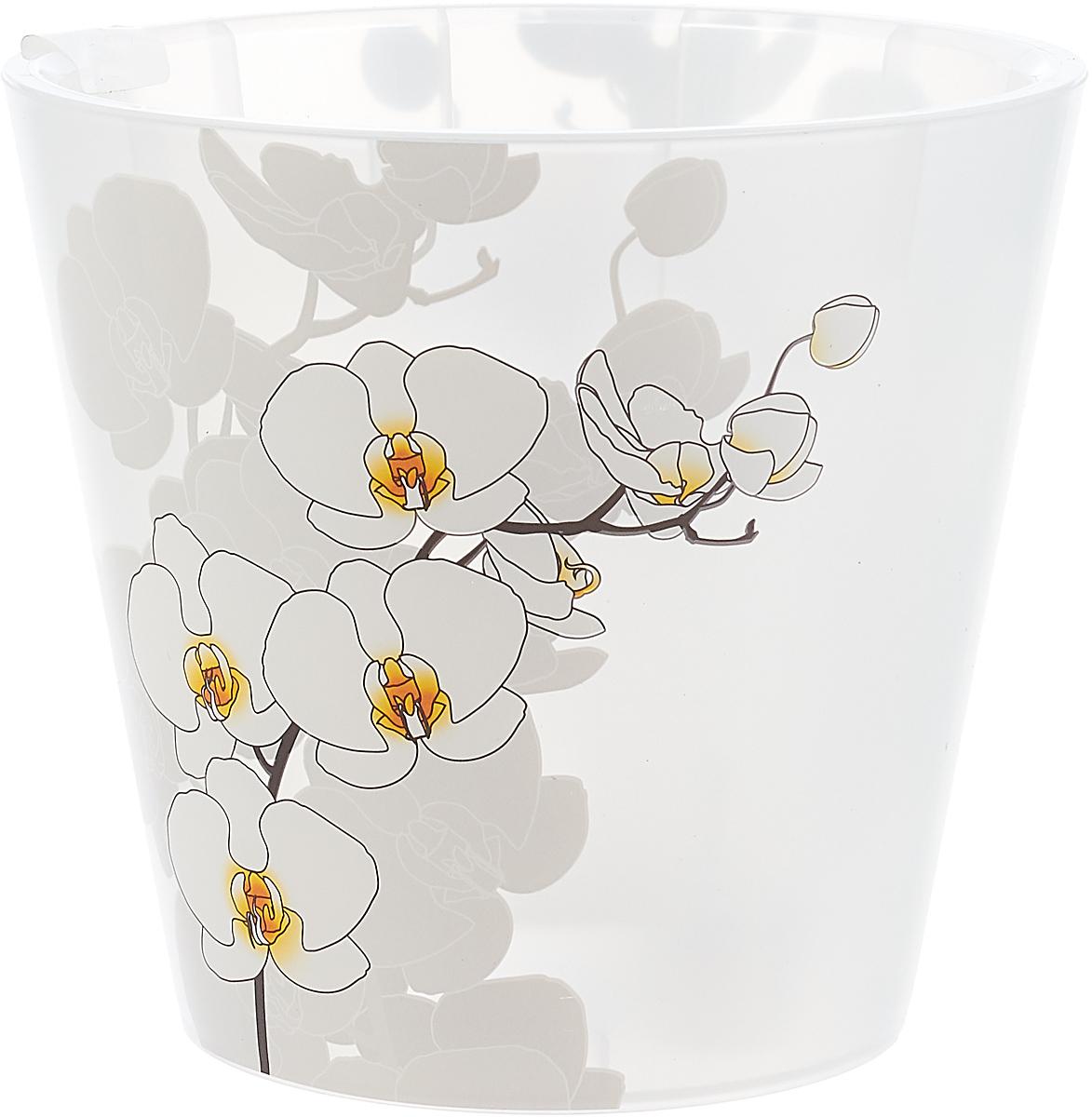 Горшок для цветов InGreen Фиджи Орхид Деко, цвет: белый, 1,6 л поддон для балконного ящика ingreen цвет белый длина 60 см