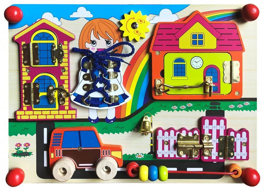 Бизиборд База игрушек ШЗ-003 бизиборд замочки деревенский двор