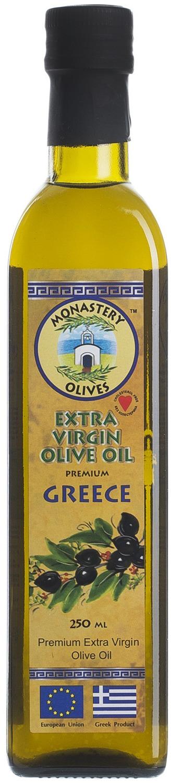 Масло оливковое Монастырские оливы Premium Extra Virgin Olive Oil, 250 мл001022Масло оливковое Монастырские Оливы Premium Extra Virgin Olive Oil, Оливковое масло нерафинированное, Extra Virgin, 1-го холодного отжима. Из оливок с экологически чистого района Греции - региона Месини, Каламата, полуострова Пелопонес. Живое оливковое масло первого холодного отжима высшего качества, нерафинированное, нефильтрованное имеет характерный запах, вкус свежего плода, от сладкого до терпокого послевкусия и зеленый, густой цвет. Практически не горчит. Используется во всех блюдах любых кухонь мира. Как незаменимый источник витамина Е, рекомендуется во время постов, для диетического питания, детей с 1 года. Допускается естественный осадок. Полностью восстанавливается после замораживания. Холестерол - 0 г. Гарантированная кислотность не более 0,5%. Подтверждено лабораторными исследованиями и сертификатами. Оцените вкус настоящего греческого масла производимого для взыскательного внутреннего рынка Греции! Уверенны, что единожды попробывав, Вы не захотите променять его на других производителей!