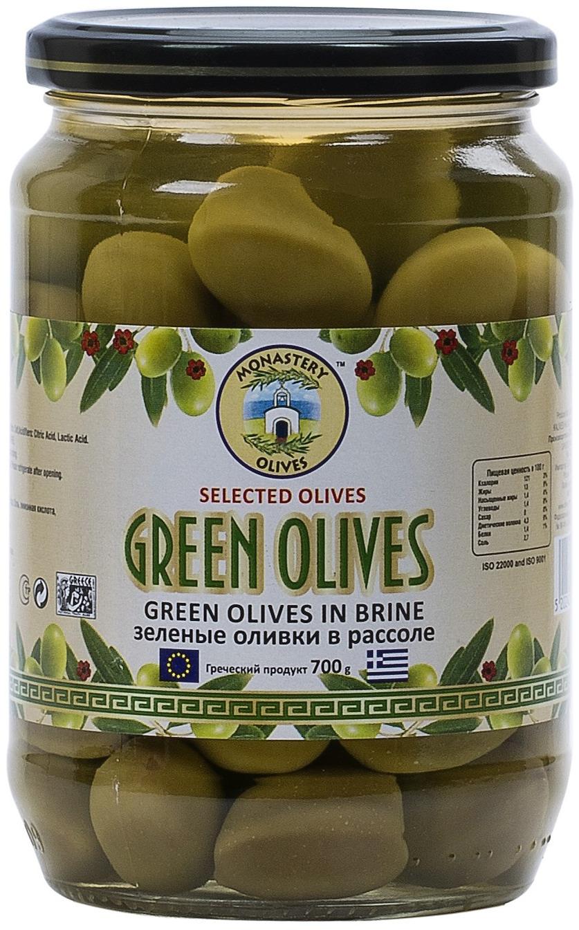 Зеленые оливки с косточкой Монастырские оливы, 700 г guerola оливки зеленые сорта кампо реал с косточкой 2 25 кг