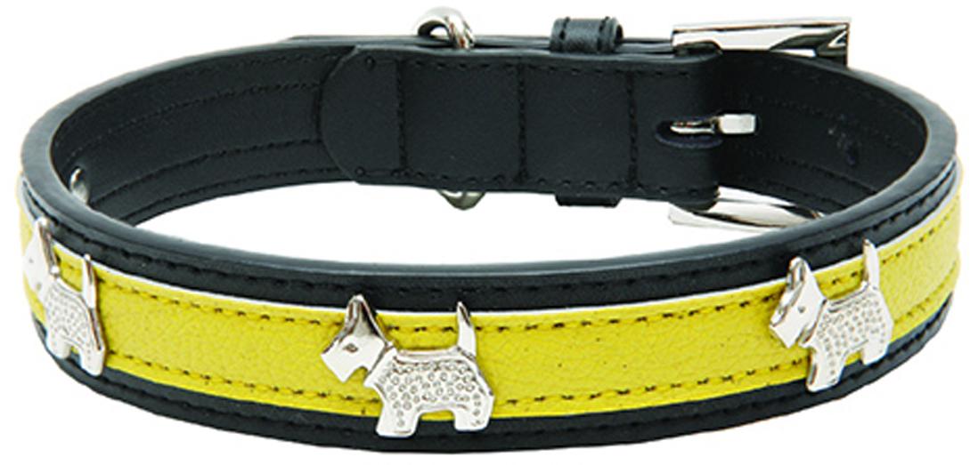 "Ошейник для собак Каскад ""Колибри. Собачки"", с украшением, цвет: желтый, ширина 25 мм, обхват шеи 50 см"