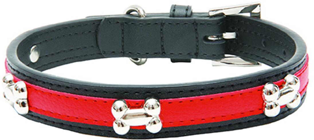 """Ошейник для собак Каскад """"Колибри. Косточки"""", с украшением, цвет: красный, ширина 25 мм, обхват шеи 50 см"""