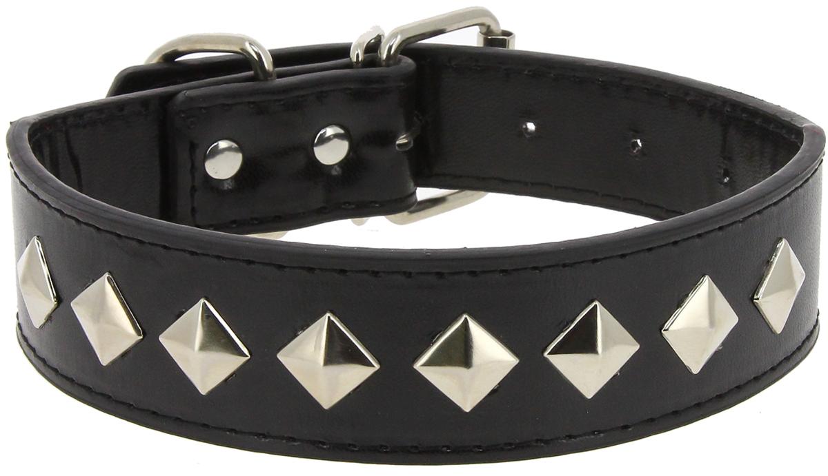 Ошейник для собак Каскад Эко-кожа. Ромб, с украшением, цвет: черный, ширина 30 мм, обхват шеи 45 см