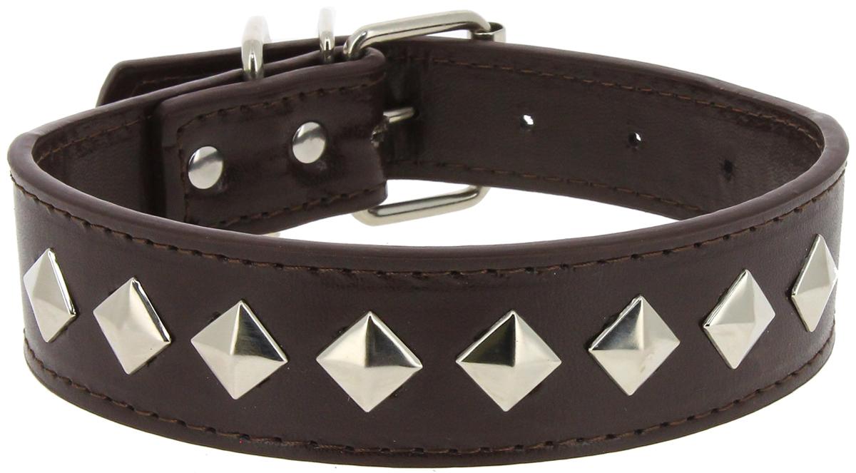 """Ошейник для собак Каскад """"Эко-кожа. Ромб"""", с украшением, цвет: коричневый, ширина 30 мм, обхват шеи 45 см"""