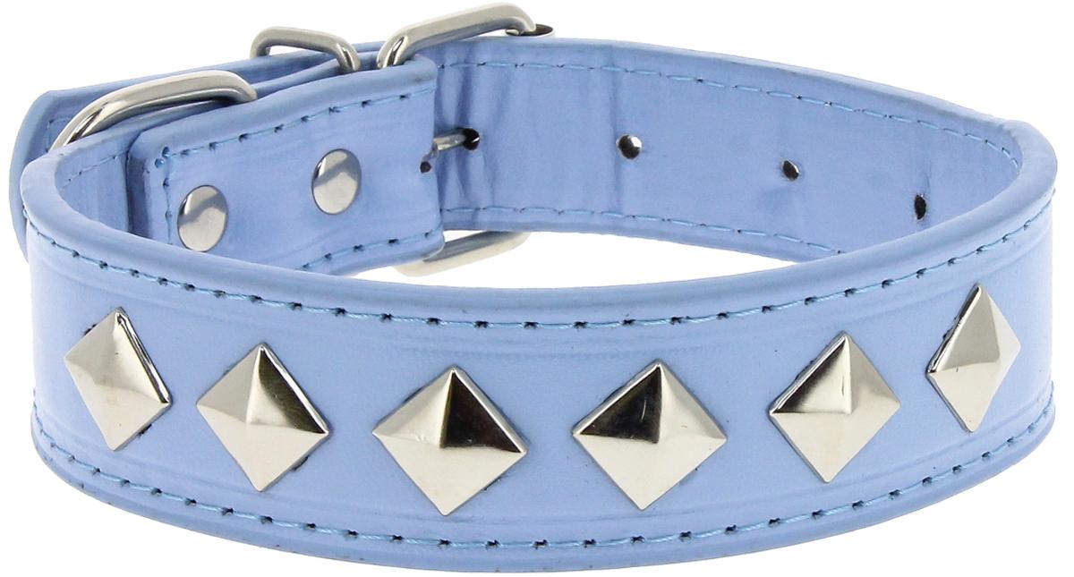 """Ошейник для собак Каскад """"Эко-кожа. Ромб"""", с украшением, цвет: синий, ширина 25 мм, обхват шеи 40 см"""