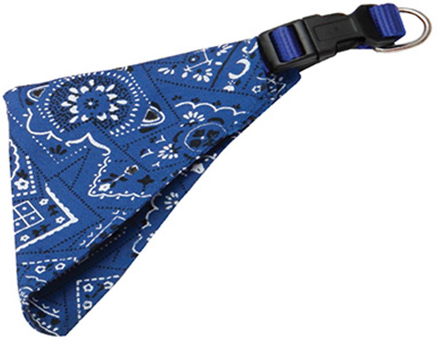 Ошейник для собак Каскад, с косынкой, цвет: синий, ширина 10 мм, обхват шеи 22-35 см ошейник для собак каскад с косынкой цвет красный ширина 10 мм обхват шеи 22 35 см
