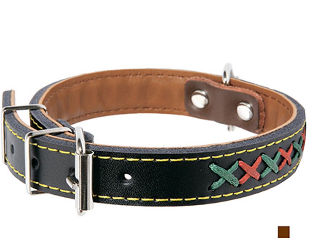 """Ошейник для собак Каскад """"Эко-кожа"""", с крестовой шнуровкой, цвет: коричневый, ширина 25 мм, обхват шеи 50 см"""