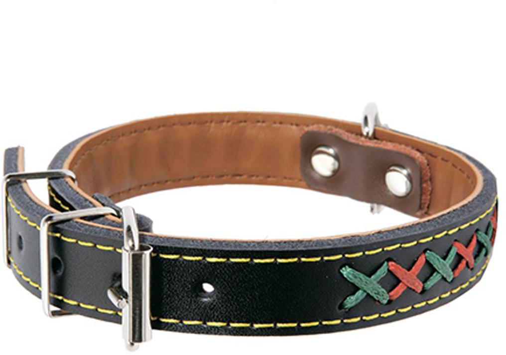 """Ошейник для собак Каскад """"Эко-кожа"""", с крестовой шнуровкой, цвет: черный, ширина 25 мм, обхват шеи 50 см"""
