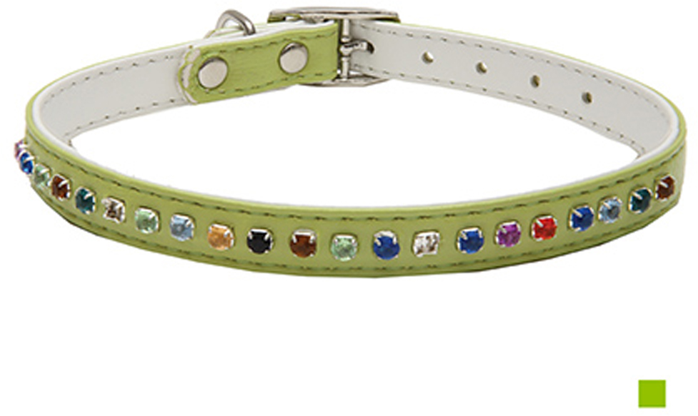 """Ошейник для собак Каскад """"Эко-кожа"""", двойной, с разноцветными стразами, цвет: салатовый, ширина 12 мм, обхват шеи 35 см"""