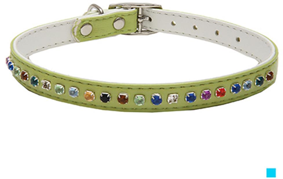 """Ошейник для собак Каскад """"Эко-кожа"""", двойной, с разноцветными стразами, цвет: голубой, ширина 12 мм, обхват шеи 35 см"""