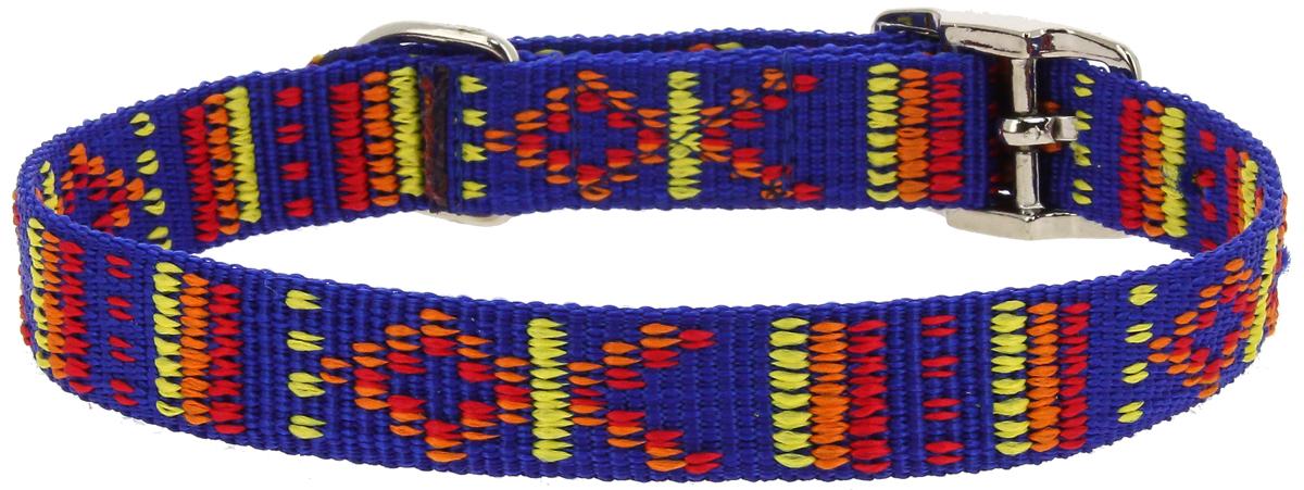 Ошейник для собак Каскад Орнамент, цвет: синий, ширина 15 мм, обхват шеи 40 см pelledoca сумка на руку