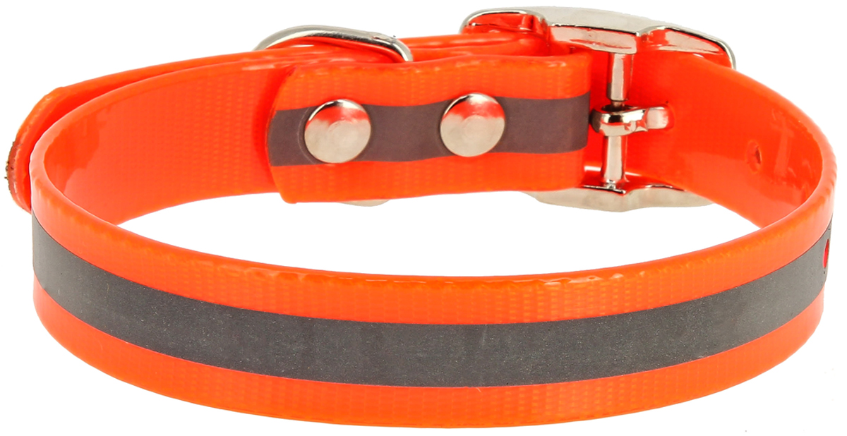 Ошейник для собак Каскад, со светоотражающей полосой, цвет: оранжевый, ширина 12 мм, обхват шеи 24-28 см00212352-03Ошейник для собак Каскад изготовлен из высококачественных материалов. Устойчив к влажности и перепадам температур. Клеевой слой, сверхпрочные нити, крепкие металлические элементы делают ошейник надежным и долговечным. Изделие отличается высоким качеством, удобством и универсальностью.