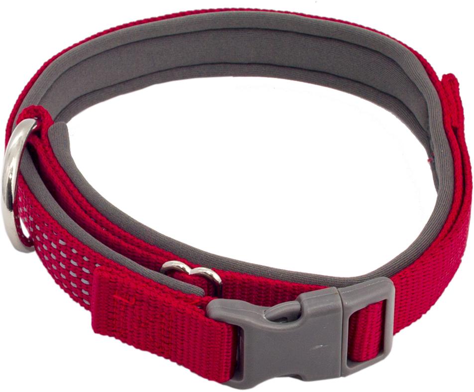 Ошейник для собак Каскад, цвет: красный, ширина 1,5 см, обхват шеи 26-40 см