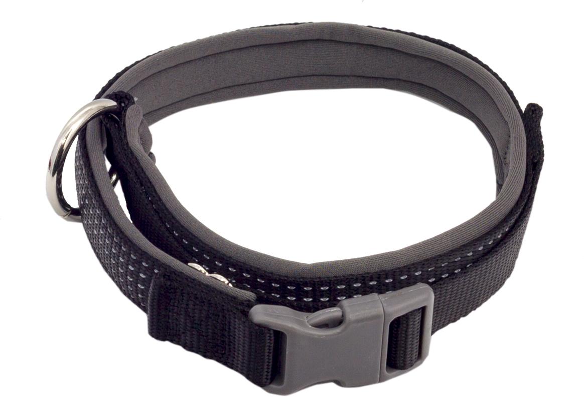 Ошейник для собак Каскад, цвет: черный, ширина 1,5 см, обхват шеи 26-40 см