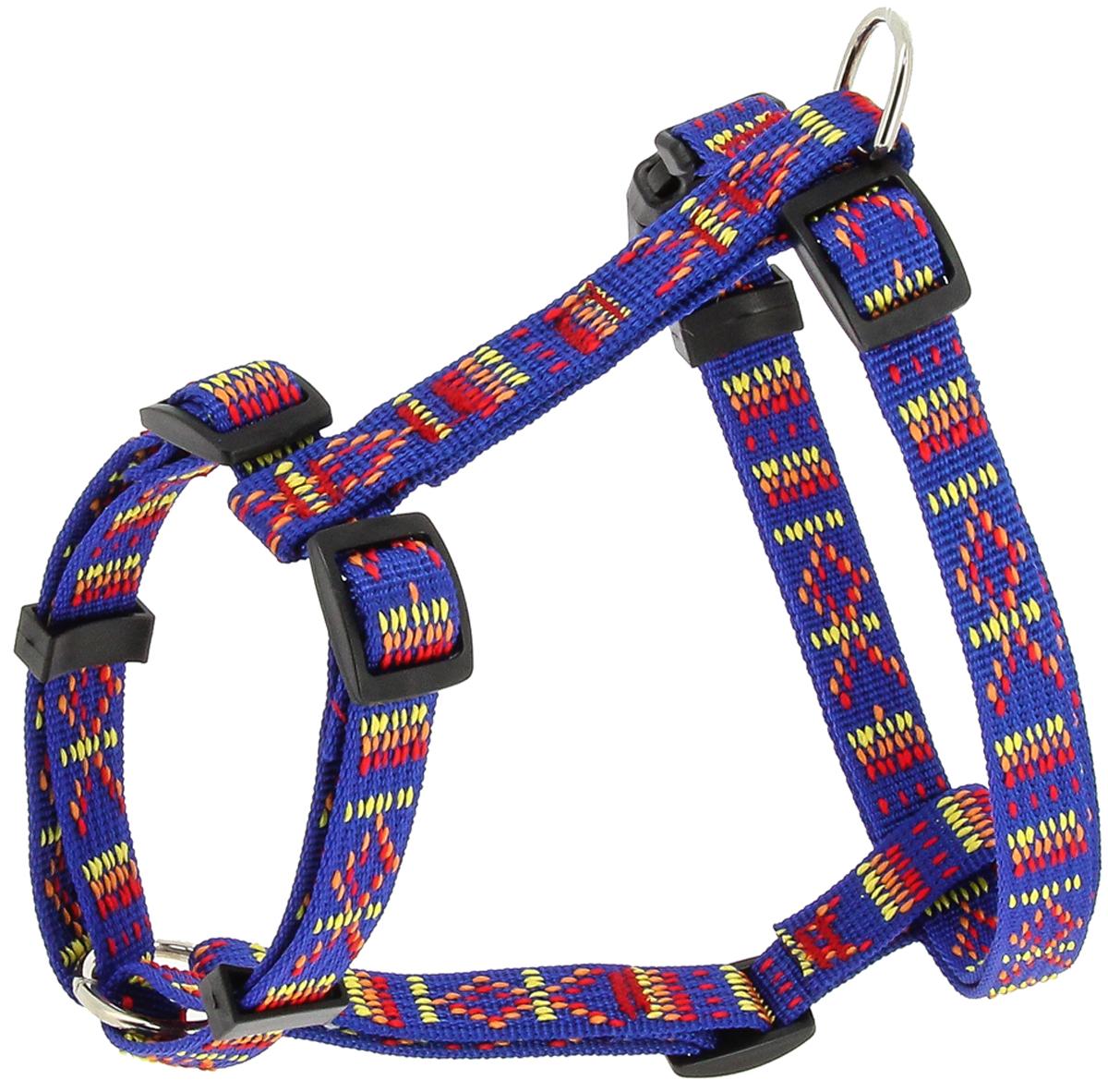 Шлейка для собак Каскад Орнамент, цвет: синий, ширина 15 мм, обхват груди 25-40 см шлейка для собак каскад цвет красный 1 5 х 30 50 см