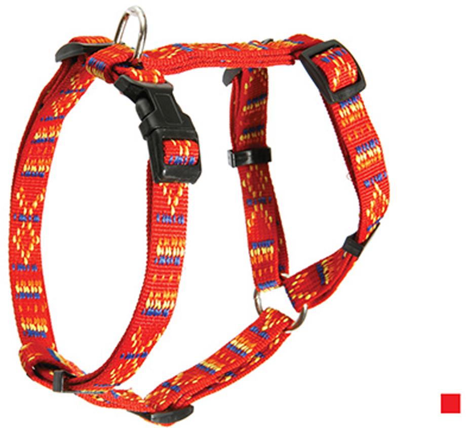 Шлейка для собак Каскад Орнамент, цвет: красный, ширина 20 мм, обхват груди 35-50 см шлейка для собак каскад цвет красный 1 5 х 30 50 см