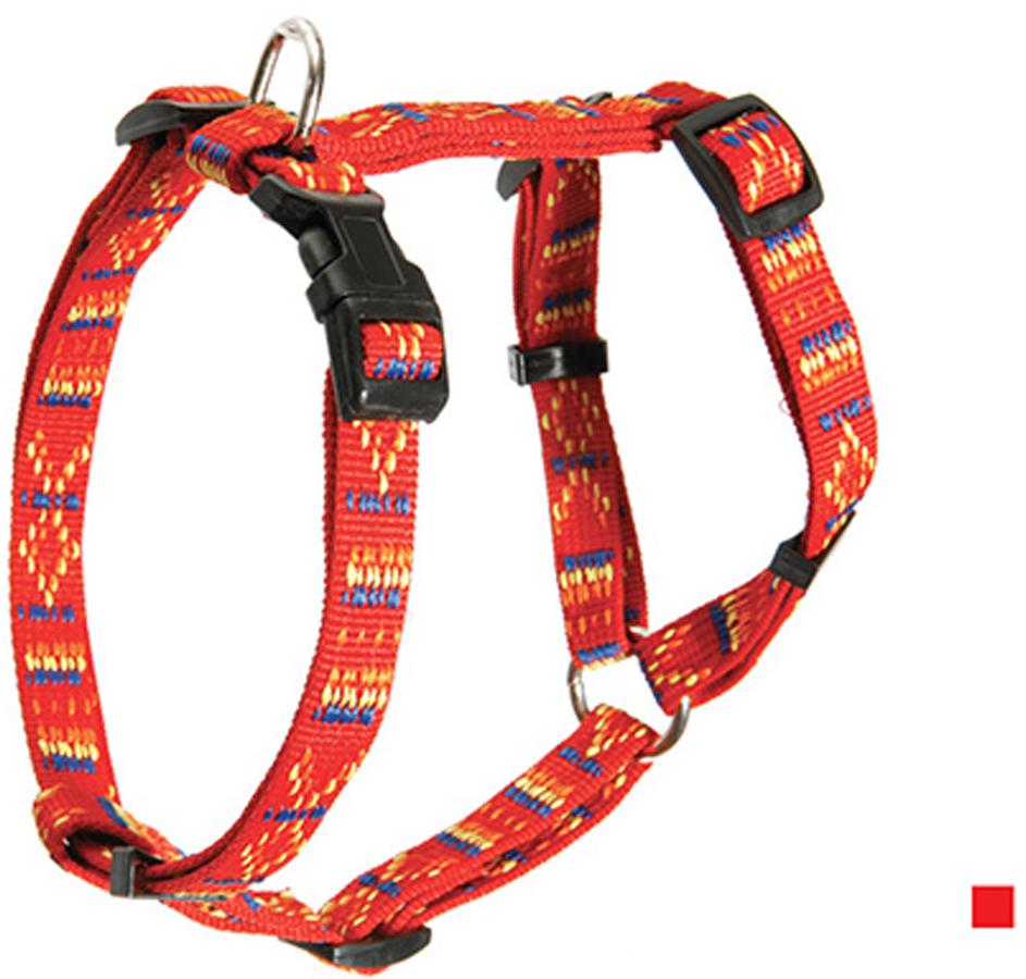 Шлейка для собак Каскад Орнамент, цвет: красный, ширина 25 мм, обхват груди 45-60 см шлейка для собак каскад цвет красный 1 5 х 30 50 см