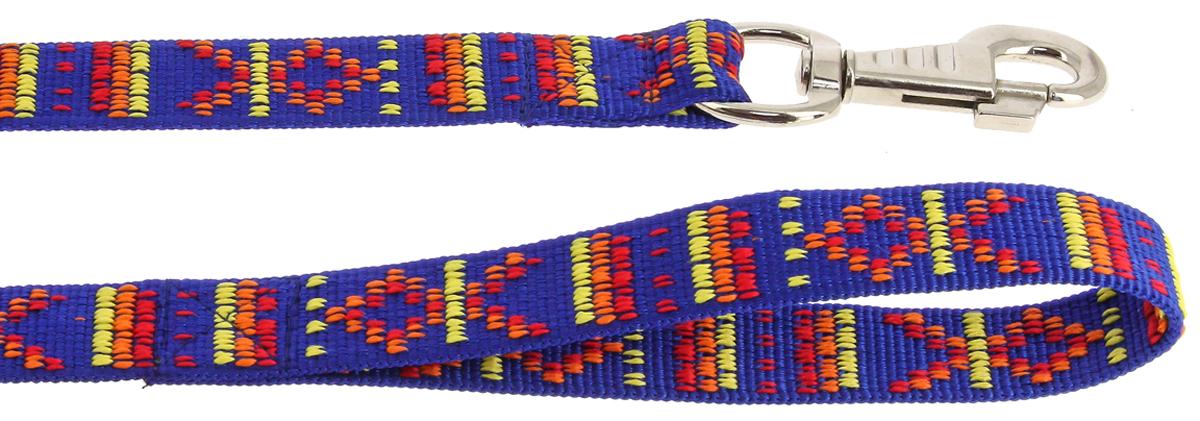 Поводок для собак Каскад Орнамент, цвет: синий, 10 мм х 120 см аксессуар ремешок apple watch 42mm activ black metal mesh 79567