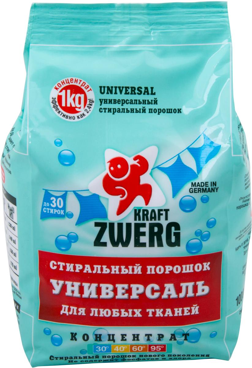 Cтиральный порошок Kraft Zwerg, универсал, концентрат, 1 кг удалитель известкового налета kraft zwerg 500 мл
