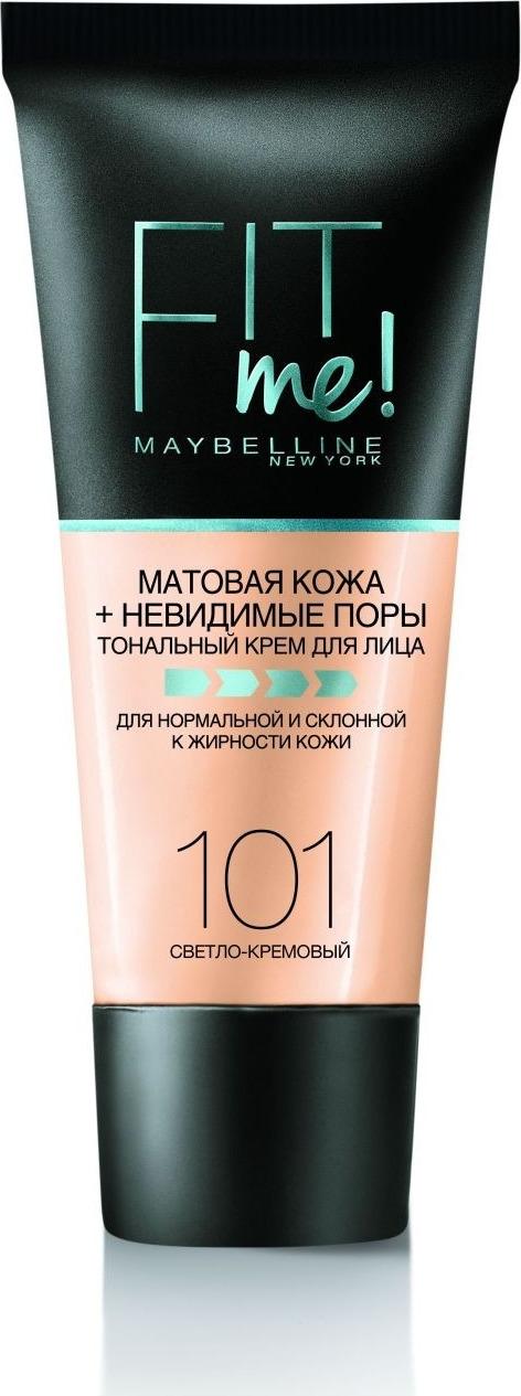 Тональный крем Maybelline New York Fit Me, для лица, матирующий, скрывающий поры, оттенок 101, цвет: светло-кремовый, 30 мл