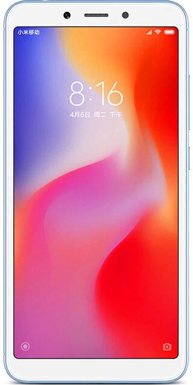 Смартфон Xiaomi Redmi 6 64 GB, синий смартфон vertex impress saturn 4g black spreadtrum sc9832 1gb 8gb 5 1280x720 5mpix 2mpix 2 sim 3g lte bt wi fi gps android 7 0