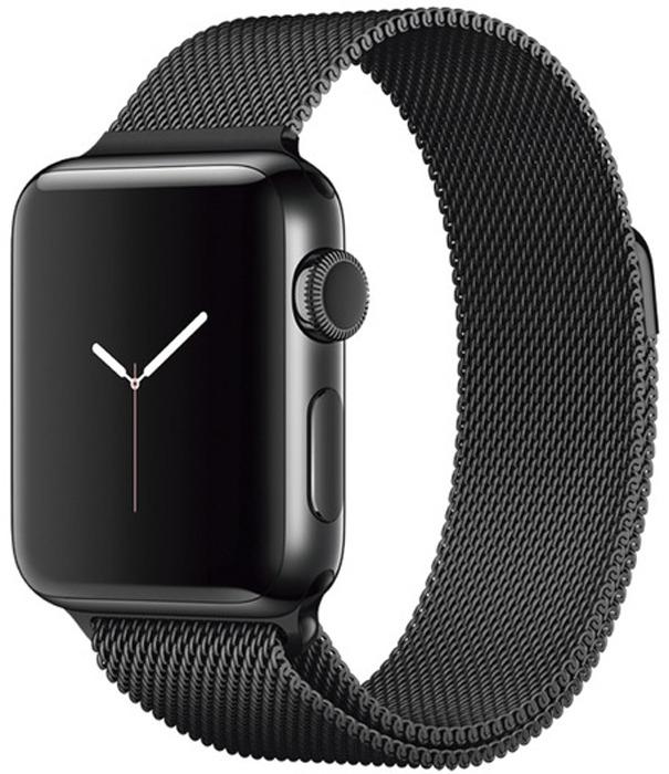 Ремешок для смарт-часов Eva Milanese Loop Stainless Steel для Apple Watch 38 мм, черный ремешок apple sport loop для watch 38 мм темно синий