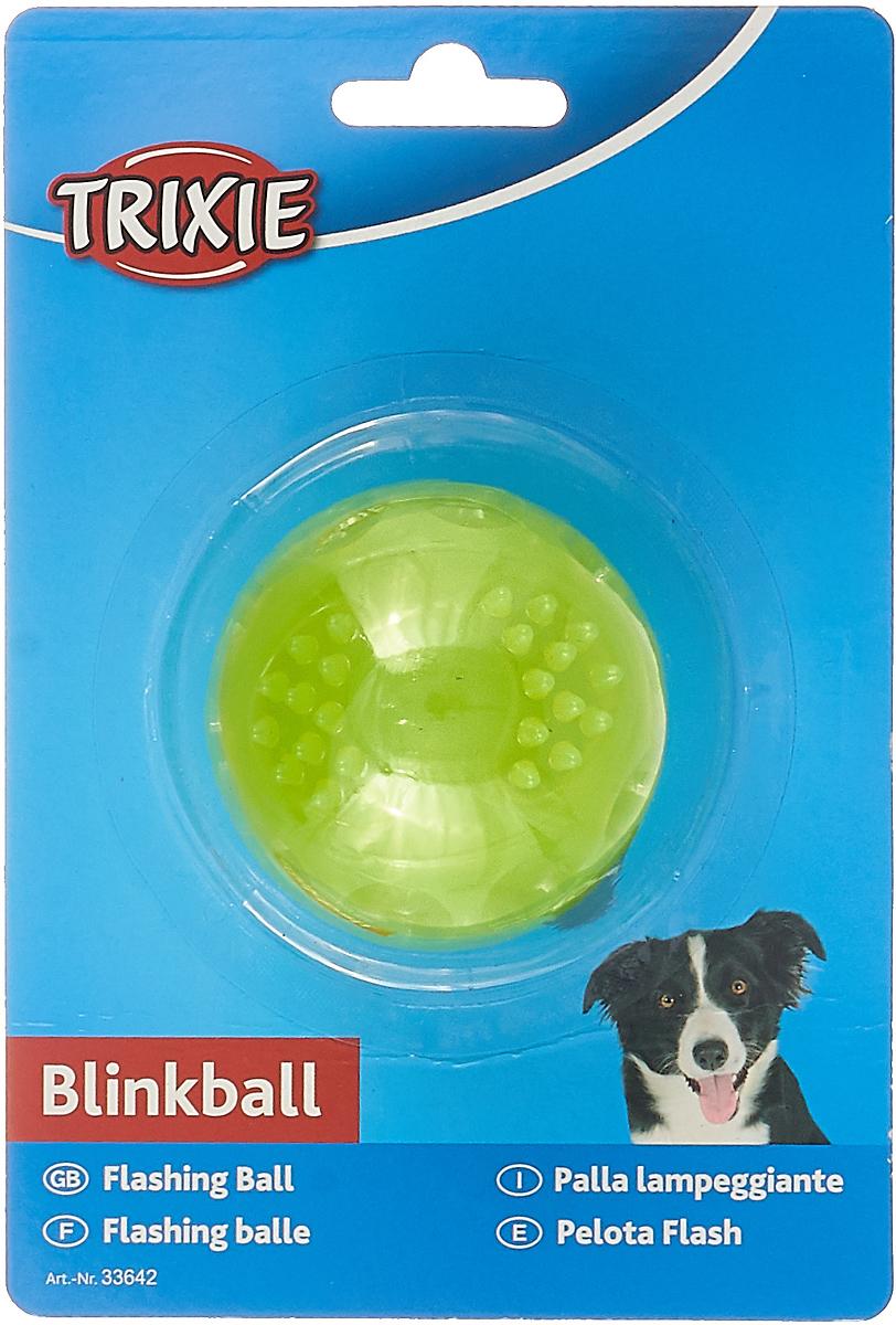 Игрушка Trixie Мяч светящийся, цвет: желтый, диаметр 5,5 см игрушка trixie с мячиком и мышкой цвет салатовый синий диаметр 24 см