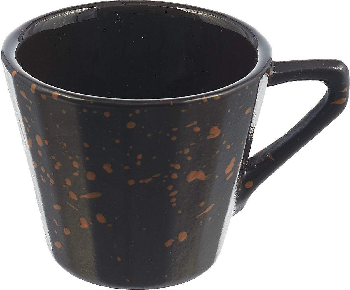 Чашка чайная Борисовская керамика Ностальгия, цвет: черный, коричневый, 200 мл чайная пара борисовская керамика ностальгия цвет темно фиолетовый голубой 200 мл
