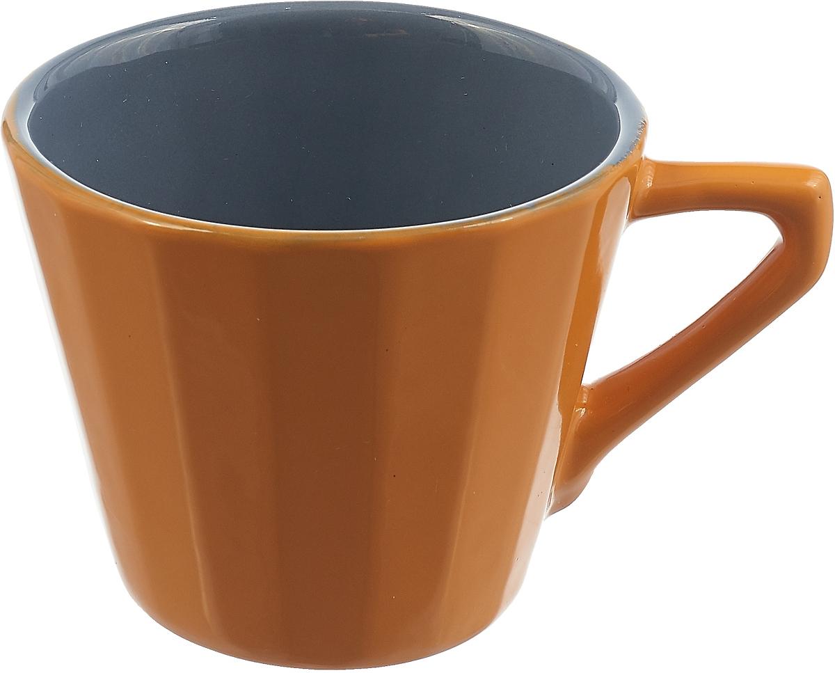 Чашка чайная Борисовская керамика Ностальгия, цвет: желтый, серый, 200 мл чайная пара борисовская керамика ностальгия цвет темно фиолетовый голубой 200 мл