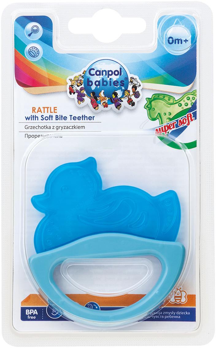 Canpol Babies Погремушка-прорезыватель Уточка цвет голубой canpol babies погремушка прорезыватель ключи с символами цвет голубой зеленый